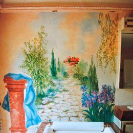 Décor fantaisie pour salle de bain (huile)