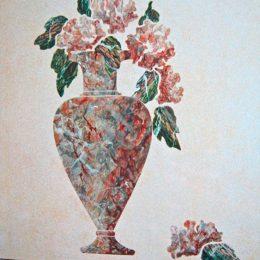 Détail - Décor peint pour salle de bain (huile)