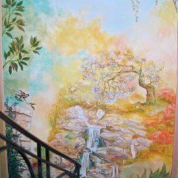 Panoramique - cage d'escalier - H:4m50 / L:2m70 - (peinture à l'huile)