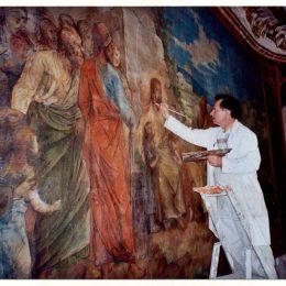 Restauration d'une fresque au château d'Asnières - Travail demandé par la maison B.Daugert