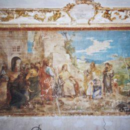 Restauration d'une fresque au château d'Asnières - AVANT